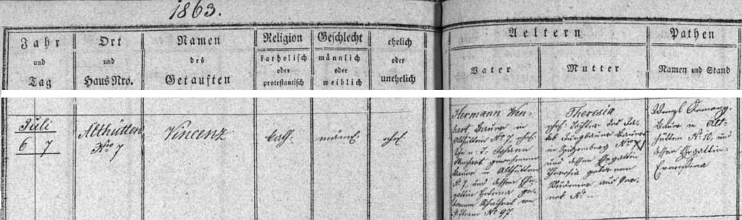 Narodil se podle záznamu v hodňovské matrice ve Staré Huti čp. 7 Hermannu Wenhartovi (babička Helena, roz. Schacherlová, byla rodem z Pihlova) a jeho ženě Theresii, roz. Jungbauerové ze Spitzenbergu (dnes Hory - její matka Theresia, roz. Studenerová, pocházela z Perneku)