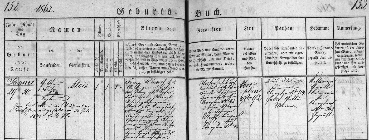Záznam hornoplánské křestní matriky o jeho narození