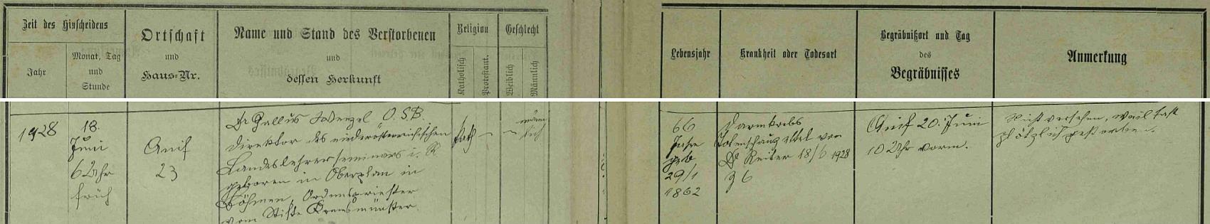 Záznam o jeho úmrtí v knize zemřelých farní obce Anif