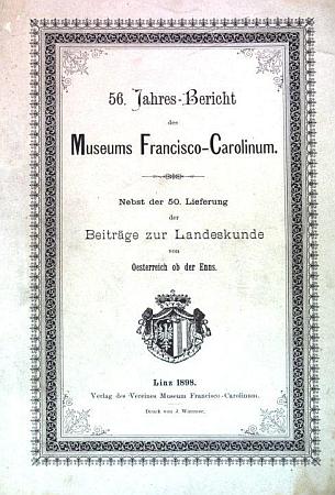 Obálka (1898) jeho práce Klimatologie von Oberösterreich,     pojaté do výroční zprávy lineckého muzea