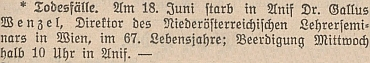 Zpráva o jeho skonu v rakouském tisku