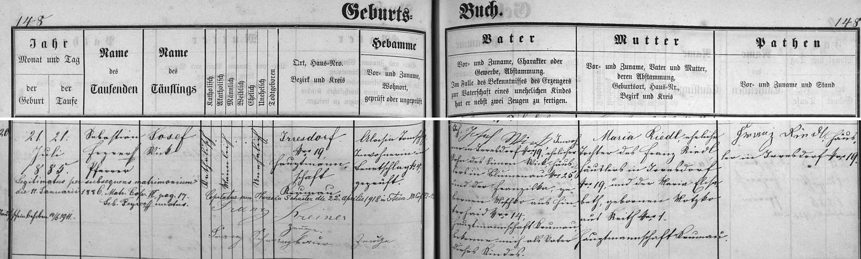 Záznam matriky farní obce Polná na Šumavě o narození jejího otce s pozdějším přípisem o jeho zdejší svatbě