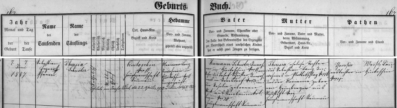 Záznam křestní matriky farní obce Polná na Šumavě o narození její matky v Květušíně také s přípisem o její svatbě
