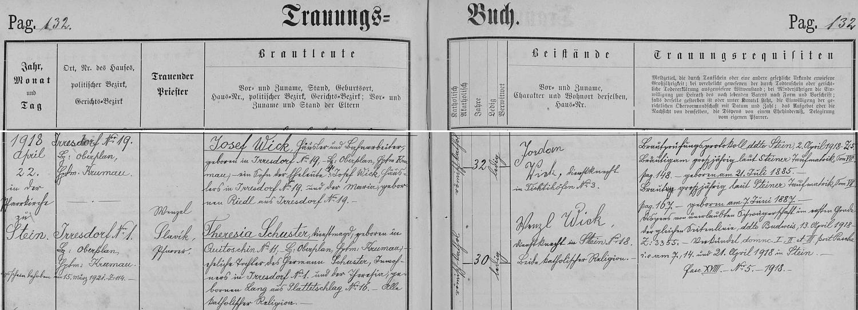 Záznam oddací matriky farní obce Polná na Šumavě o zdejší svatbě jejích rodičů
