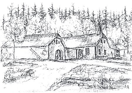 """Hostinec a """"fotostudio"""" u Wirtschneiderů v někdejších Ludvických Horách na kresbě Josefa Quasse"""