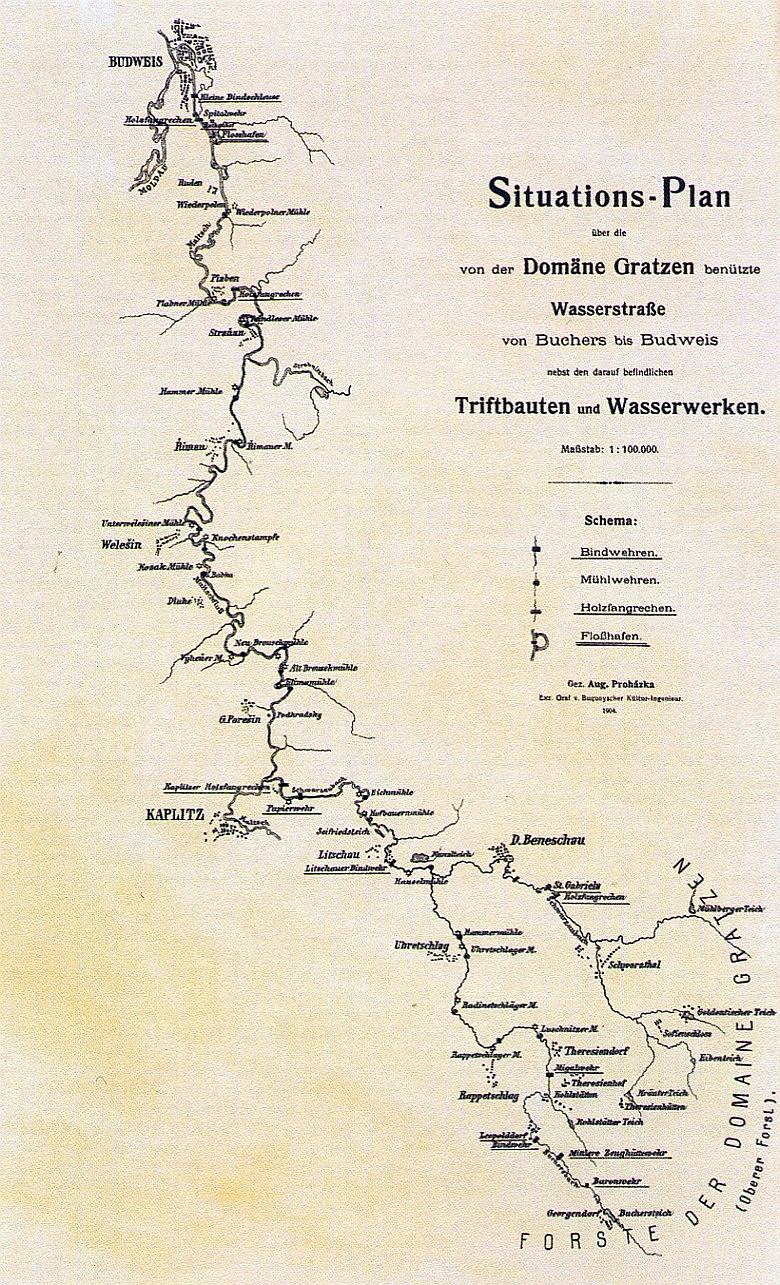 Plánek vodních cest pro plavení dřeva z lesů novohradského panství (1904)