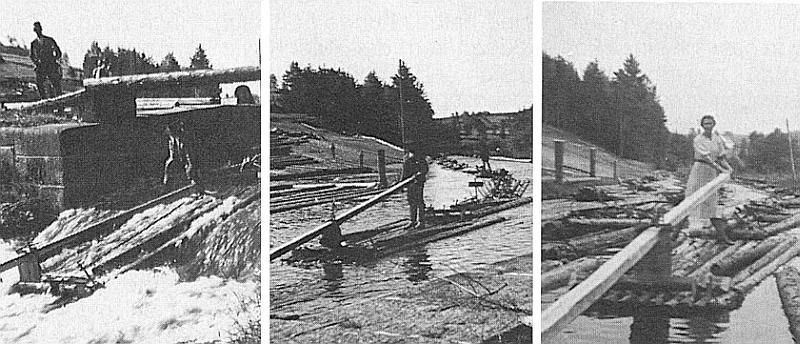 """Tři snímky z voroplavby po Pohořském potoce u jezu řečeného """"Migein-Wiar"""", k němuž na tom prostředním z nich se od Leopoldova blíží pramen s vrátným na přídi"""