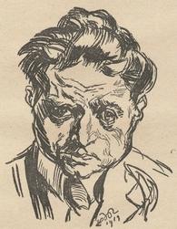 Na kresbě malíře a básníka Ludwiga Meidnera (1884-1966)