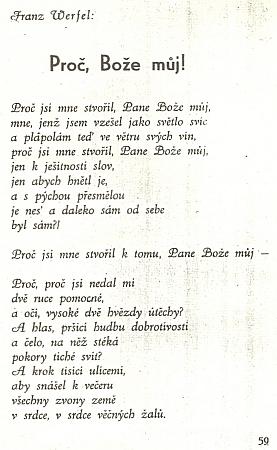 Úryvek z českého překladu jeho básně, kterou otiskl Židovský kalendář na rok 5698, (tj. 1937-1938)