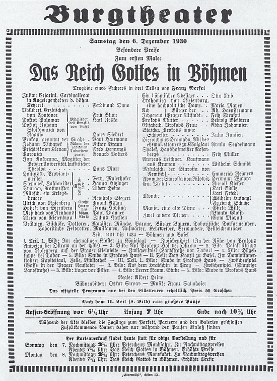 Plakát k vídeňskému uvedení hry Říše Boží v Čechách z prosince roku 1930