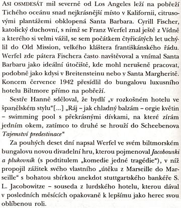 Santa Barbara, Zyrill Fischer a historie vzniku divadelní hry Jacobowski a plukovník na jedné straně Werfelova životopisu od P. S. Jungka