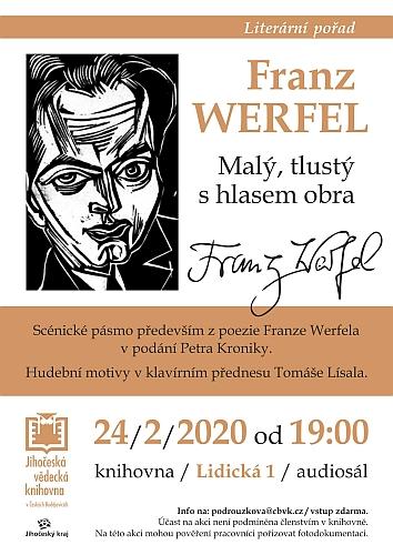 Plakát ke scénickému pásmu především z Werfelovy poezie v Jihočeské vědecké knihovně v únoru roku 2020