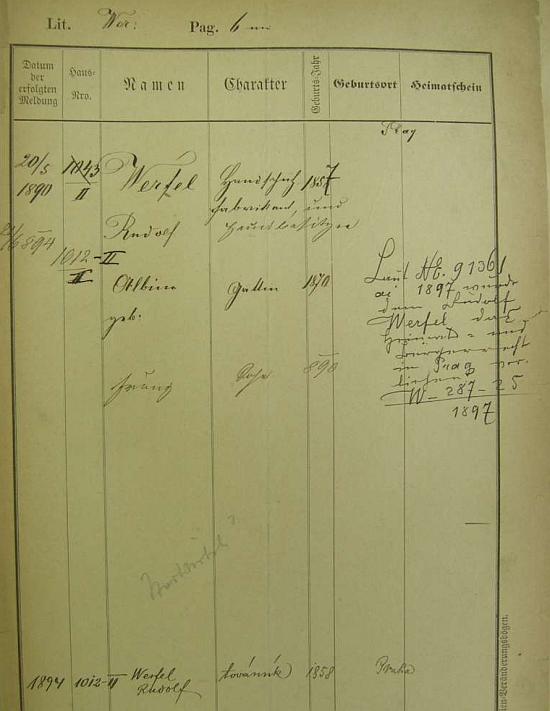 Z pobytové přihlášky pražského policejního ředitelství lze vyčíst i rok jeho narození v rodině Rudolfa a Albine Werfelových, jimž v Praze patřila továrna na rukavice