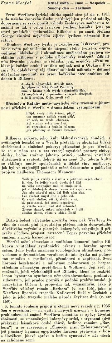 Vyznání Pavla Eisnera o Werfelově poezii ze stránek sborníku Co číst z literatur germánských (1935)