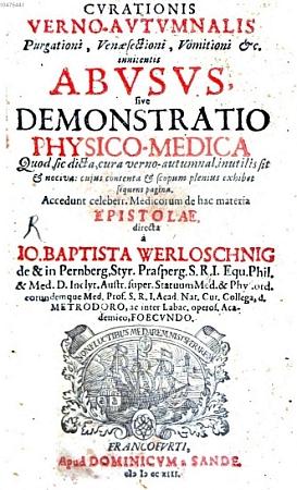 Titulní list (1713) jiné z jeho knih s obšírným názvem i autorovými tituly