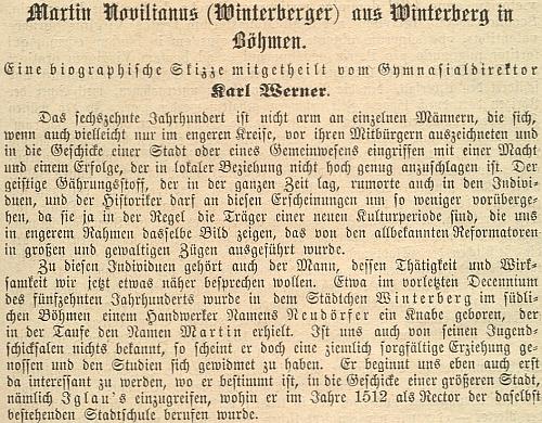 Záhlaví a úvod jeho stati o Martinu Novilianovi z Vimperka