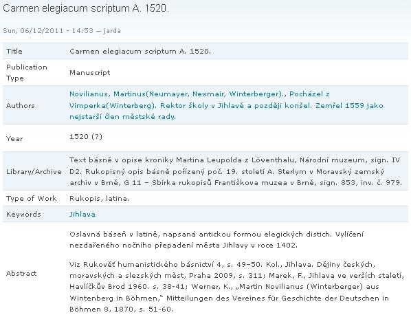 Záznam o opisu Novilianovy latinské básně v databázi urbánní historiografie