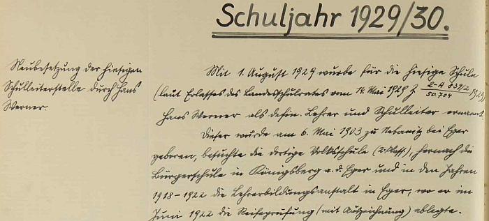 Úvod zápisu ve školní kronice o jeho příchodu do Dolního Markschlagu