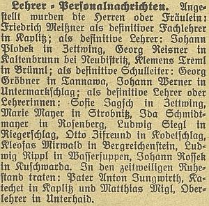 O jeho nástupu do Dolního Markschlagu se dovídáme izezprávy v českobudějovickém německém listu, je tu zmíněno i jmenování Johanna Plodeka do Cetvin
