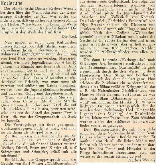 Takto se rozepsal o vánoční krajanské slavnosti v Karlsruhe na stránkách časopisu Hoam! v jeho příloze pro mládež
