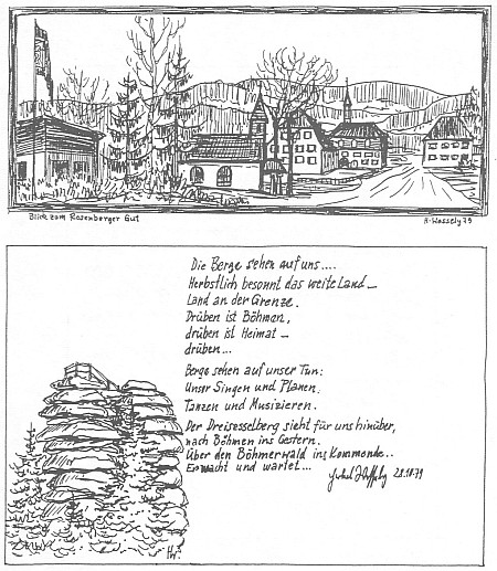 """Jeho kresba s pohledem od Rosenberger Gut na Třístoličník a zápis v pamětní knize """"Domu Šumavanů"""" v Lackenhäuser"""