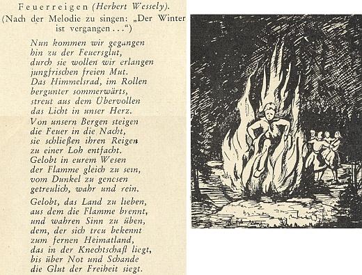 Báseň Herberta Wesselyho s nápěvem ke slunovratové vatře vyšla roku 1953 v příloze pro mladé, doprovázející krajanský měsíčník