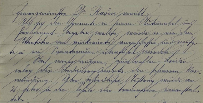Úvod jeho zápisu o atentátu na ministra Rašína v kronice školy ve Veveří