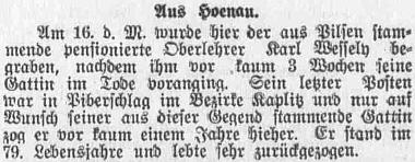 Zpráva o jeho úmrtí v plzeňském německém listu