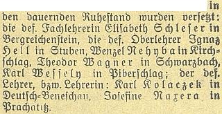 Českobudějovický německý deník informoval o jeho odchodu naodpočinek