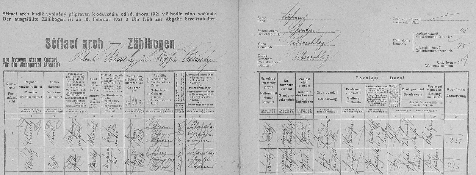 Arch sčítání lidu z roku 1921 pro dům čp. 45 ve Veveří, kde bydlil se svou ženou Sophií