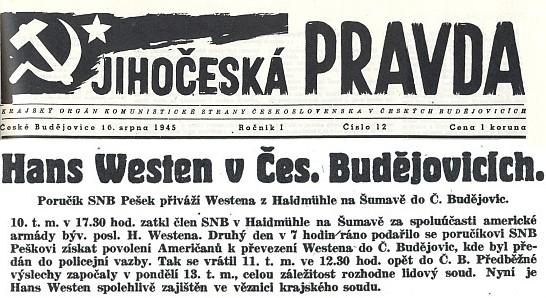 """Zpráva o zatčení Westenově v Haidmühle """"na Šumavě"""""""
