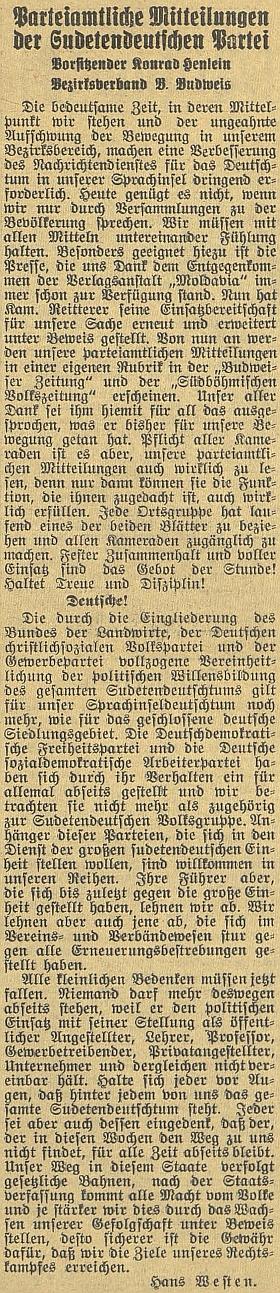 """Westenova výzva k jednotě z března osudného roku 1938 s díkem """"kamarádu"""" Reittererovi, že poskytuje SdP stránky svého listu"""