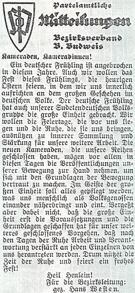 """Tady ještě k """"německému jaru 1938"""" provolává za okresní vedení SdP jen """"Heil Henlein!"""""""