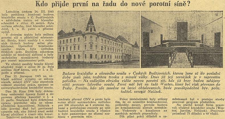 Článek Jihočeské pravdy z listopadu roku 1946 o dokončení oprav českobudějovické budovy krajského soudu ke svátku 28. října, na nichž se prací podílel i Westen, který tu měl být sice souzen jako první, byl však pořevezen do Prahy