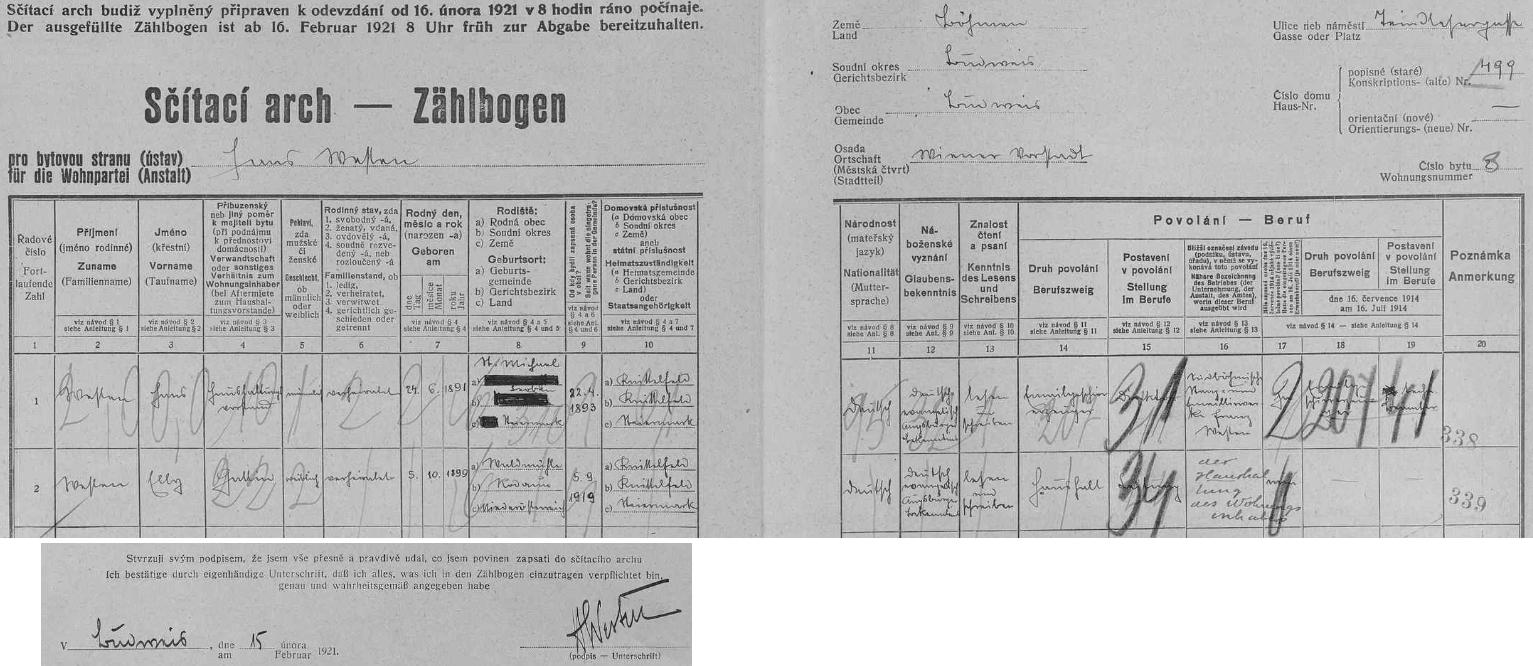 """Tady vlastní rukou na archu sčítání lidu z roku 1921 pro dům čp. 499 (Villa Ernestine Westen) zaznamenal data svá asvé ženy Elly, narozené 5. října roku 1899 ve Waldmühle, okres Rodaun (od roku 1938 součást """"Velké Vídně"""") - oba byli tehdy domovsky příslušní do štýrského města Knittelfeld, Westen sám se  označuje za výrobce smaltovaného nádobí v českobudějovické firmě """"Südböhmische Stanz- und Emaillierwerke Franz Westen"""", nejsou tu ovšem zaznamenáni až později narození synové obou manželů Harald a Hans, z nichž starší Harald byl v roce 1941 sestřelen jako pilot luftwaffe nad sovětským územím"""