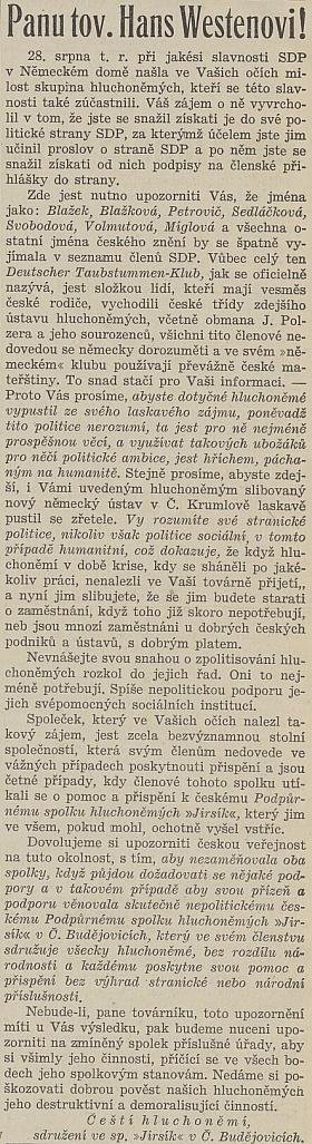 """Tento dopis mu v létě 1938 poslali """"Čeští hluchoněmí, sdružení ve spol. Jirsík vČ.Budějovicích"""""""