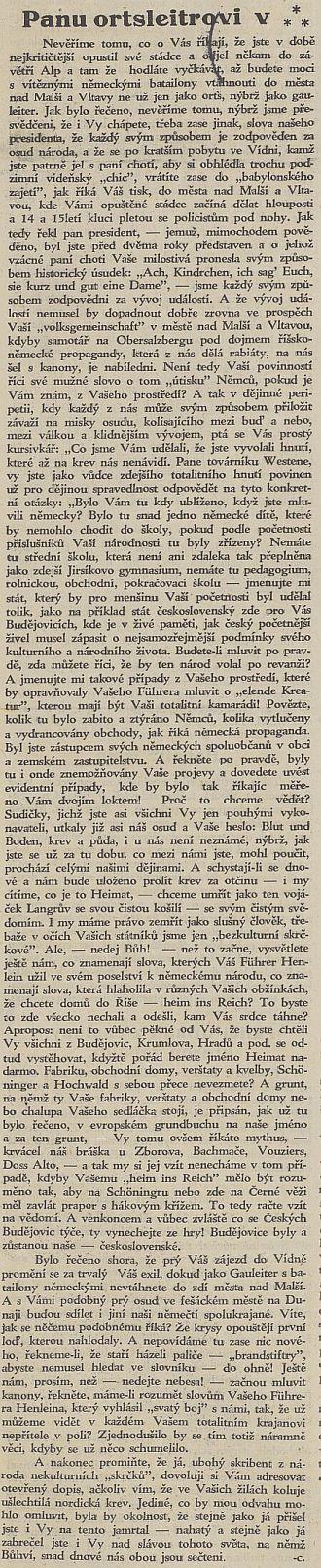 Dne 17. září 1938 mohl ještě vyjít v Jihočeských listech tento článek, adresovaný Westenovi a podepsaný zasvěcenému okruhu dobře známou šifrou -c, kterou se kryl Dr. Bohumír Borkovec (1889-1949)