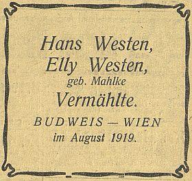 Oznámení o jeho svatbě v srpnu 1919