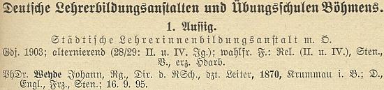 Figuruje tu na samém čele seznamu německého učitelstva v Čechách k roku 1928 jako ředitel učitelského ústavu v Ústí nad Labem