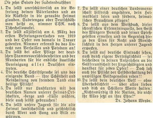 """Jeho """"desatero přikázání"""" sudetských Němců se netají bojovným revanšismem a zaštiťuje se citátem ze Schillera"""