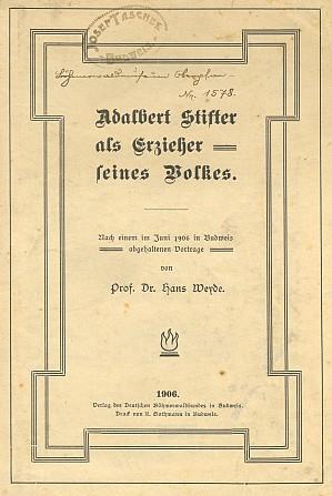 Obálka (1906) s razítkem Josefa Tascheka a inventárním číslem fondu Šumavského muzea v Horní Plané