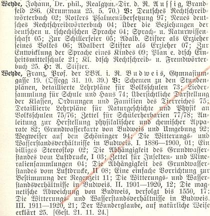 O něm a jeho otci v Lexikonu sudetoněmeckých spisovatelů a jejich prací za roky 1900-1929, který vydal vLiberci  Friedrich Jaksch