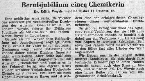Profesionální úspěchy jeho dcery Edith, významné německé chemičky, zaznamenal v únoru 1953 ústřední list vyhnaných krajanů i s připomínkou toho, že právě v roce její maturity (1919) byl otec propuštěn ze zaměstnání anemohl ji už finančně podporovat