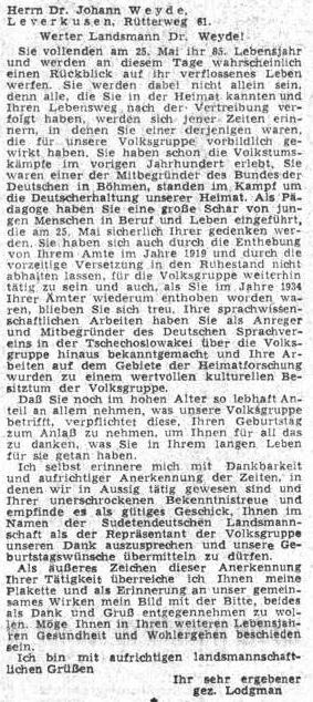 Pozdravný dopis prvého mluvčího Sudetoněmeckého krajanského sdružení Rudolfa Lodgmana von Auen kWeydeovým pětaosmdesátinám roku1955