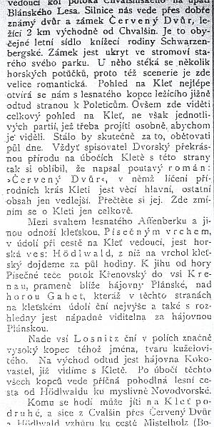"""Úryvek z článku Vojtěcha Novotného-Kolenského o Kleti vJihočeských listech ze září roku 1909, zmiňující i český román o krásách Kleti, který napsal """"spisovatel Dvorský"""", dnes neznámý, stejně jako mnohá německá místní jména v textu výstřižku, Afferberk (Opičí vrch), Gahet (?), Hödlwald (Hejdlov), Kokovastl (Kokotín), Krenau (Křenov), Losnitz (Lazec), Mistelholz (Borová)"""