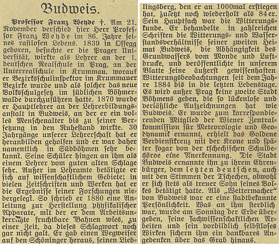 Nepodepsaný nekrolog k jeho úmrtí 21. listopadu roku 1924 v Českých Budějovicích na stránkách českobudějovického německého listu