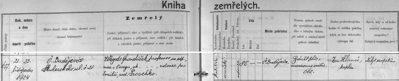 """Český záznam o jeho skonu v 85 letech na """"zánět plic"""" a """"marasmus senilis"""", tj. stařeckou sešlost, na stránkách českobudějovické knihy zemřelých"""