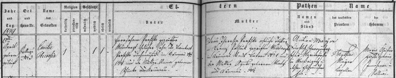 Záznam želnavské křestní matriky o zdejším narození jeho ženy Emilie