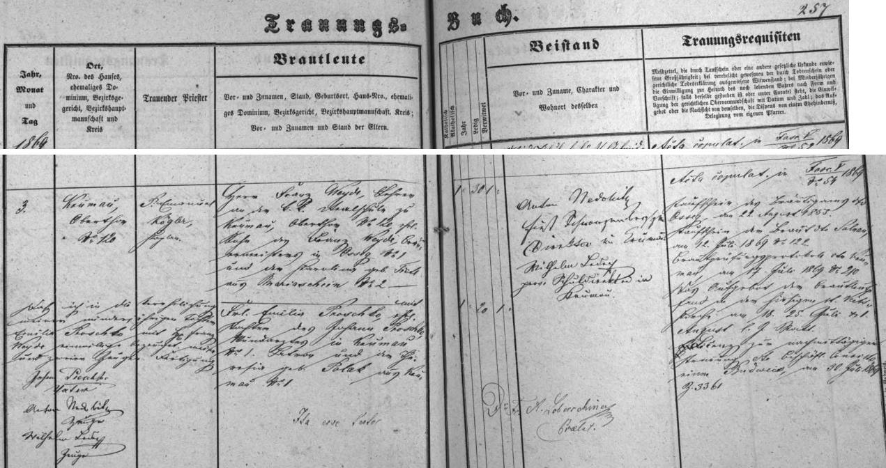 Záznam českokrumlovské oddací matriky o jeho zdejší svatbě
