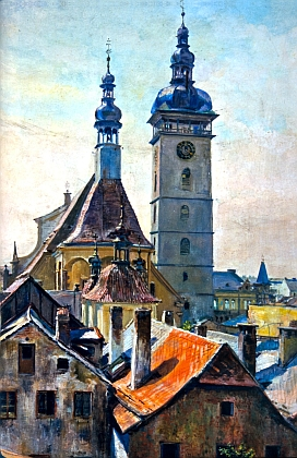 Černá věž na obrazech českobudějovických malířů EmilaPittera (1887-1943) a Rudolfa Krásy (1888-1975)